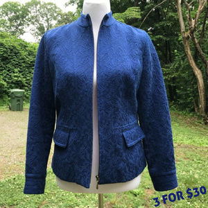 Jacquard Zip Front Up Blazer Jacket Pockets 0 S 4